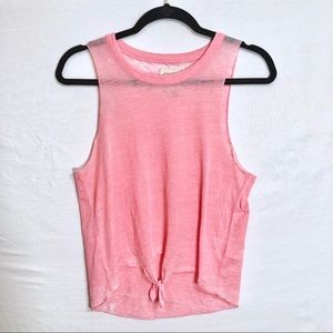 CHASER Burnout Pink Tie Front Tank Top Small